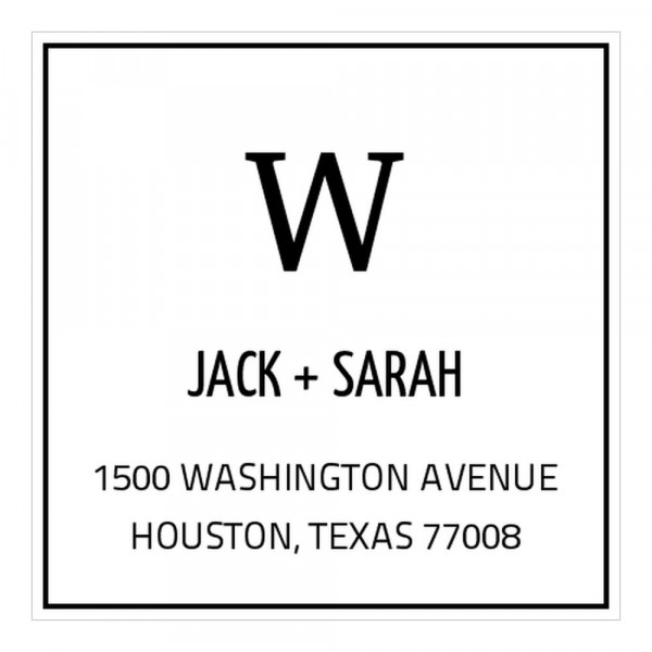 """This Basic Large Initial Square Monogram Stamp can be personalized with your name, address and your individual monogram or image. You will find this monogram stamp very useful to stamp envelopes, letterheads, cards, invitations or just use it as a return address stamp for your documents. The Monogram stamp consists of a self-inking stamp (Trodat Printy 4924 text stamp, 1 5/8"""" x 1 5/8"""") with a replaceable ink cartridge for thousands of crisp impressions. Use our design wizard to customize you..."""